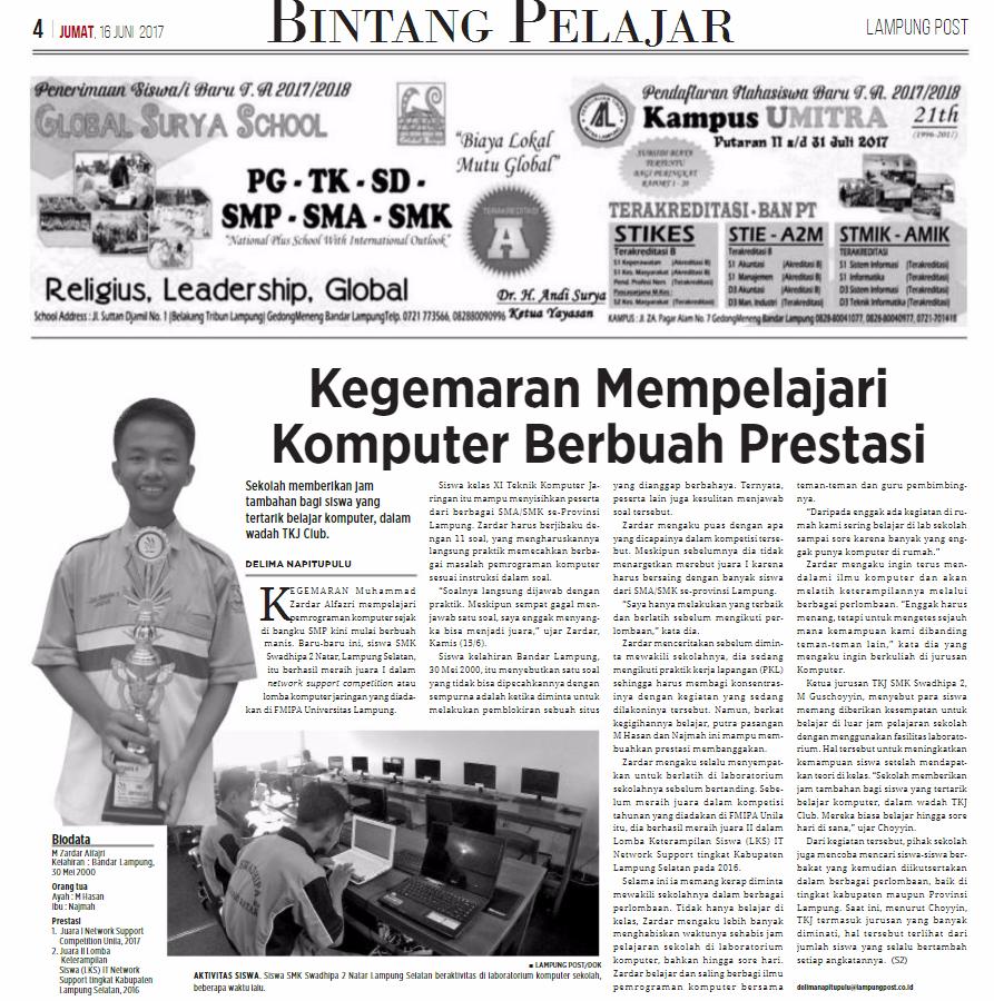 Bintang Pelajar – Koran Lampung Post (Jum'at, 16 Juni 2017)